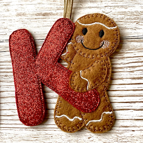 Gingerbread Alphabet Initial Christmas Tree Decoration, with Sparkly Red Letter