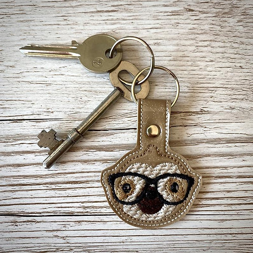 Sloth with Glasses Glitter Vinyl Key Fob