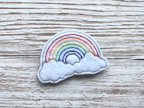 Rainbow and Clouds Felt Brooch Clothes Pin