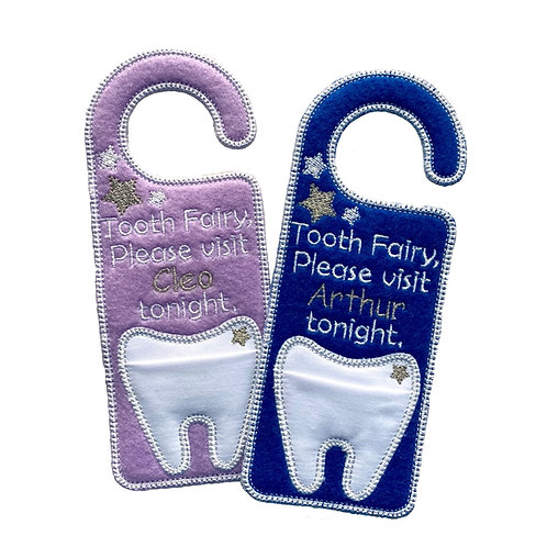 Personalised Tooth Fairy Door Hanger with Pocket