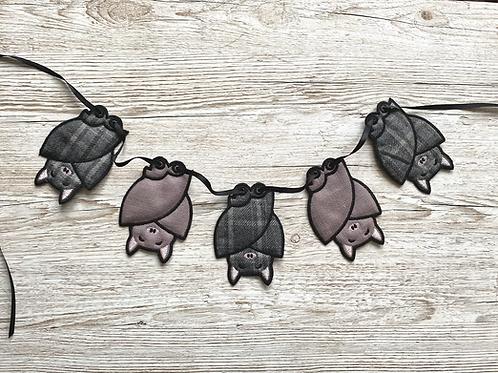 Sleepy Bats Fabric Bunting, soft grey chequered and muted purple fabrics