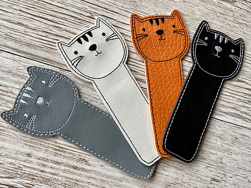Cute Cat Bookmark, Embroidered Leatherette