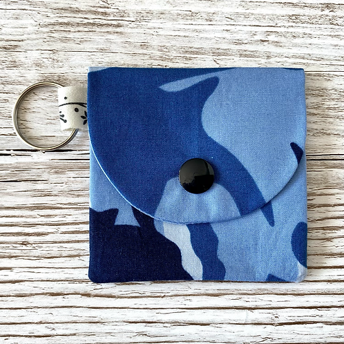 Mini pocket keyring pouch - blue camo