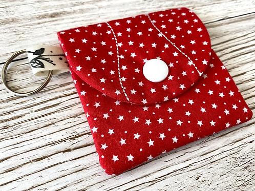 Mini pocket keyring pouch - red stars