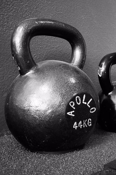 A pair of kettlebells sitting inside