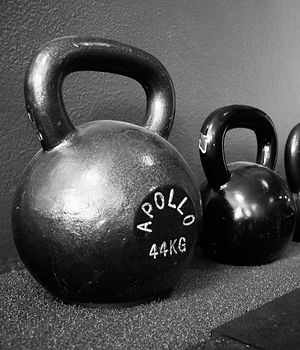 A set of Kettlebells inside FitBlender gym in San Diego.
