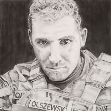 Soldier Ski Graphite on Paper 18x18 inch