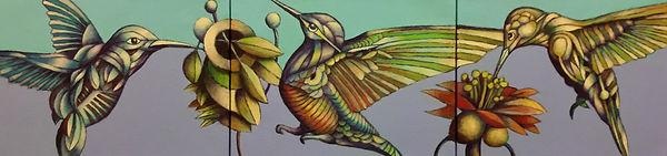 2018 Hummingbirds #2 triptych  Acrylic o