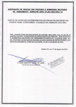 EDITAL DE AVISO DE ENCERRAMENTO