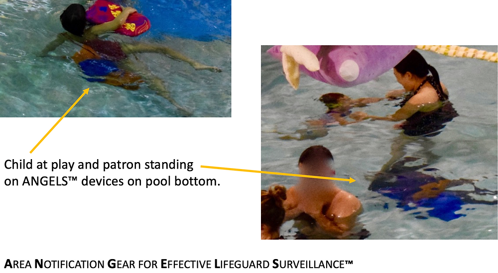 ANGELS devices in pool with children swimming
