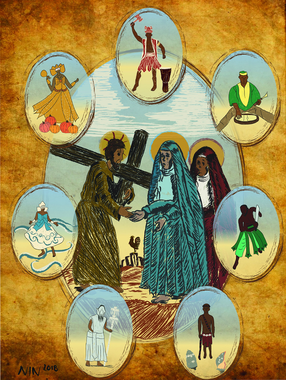Digital Painting of the Seven African Powers (Oshun, Shango, Orunmila, Ogun, Elegua, Obatala, and Yemaya) surrounding Christ.