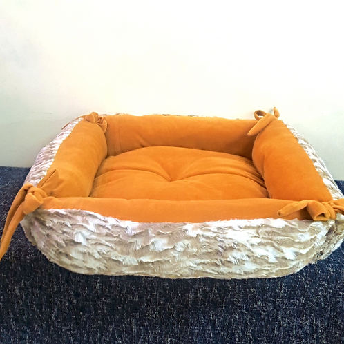 Brown and Beige Square Bed Cat and Small Dog Bed