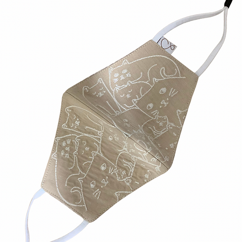 Cotton Masks 3 Ply Reversible Beige and cream