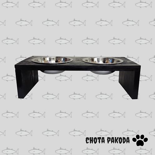 Cat and small dog raised feeder color black with steel bowls