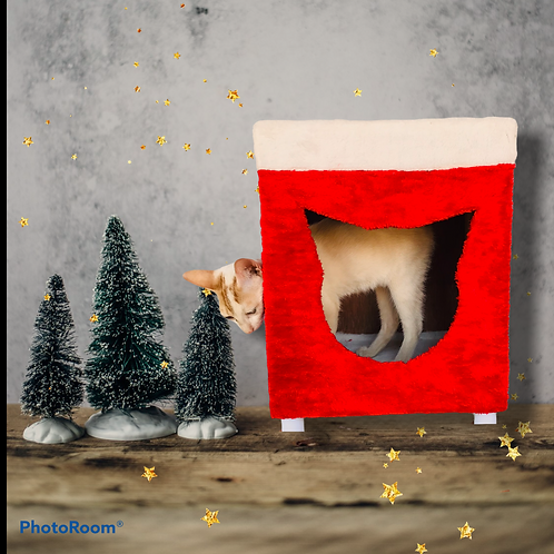 Christmas Cat Box Pet Gift Red and White