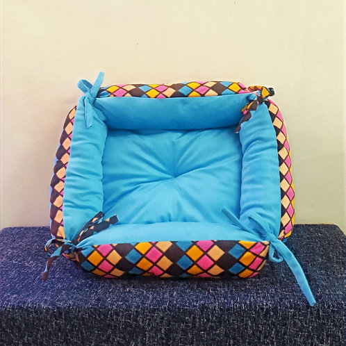 Blue and Multi-Color Checks Square Bed Cat and Small Dog Bed
