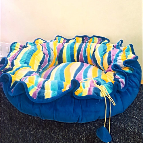 Blue and Multi-Color Stripes Cuppy Cat and Medium Dog Bed