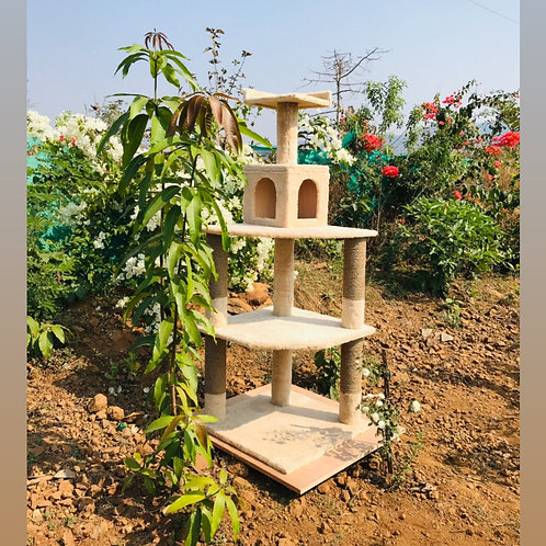 Cat Castle Tree Scratcher Condo House 5ft tall