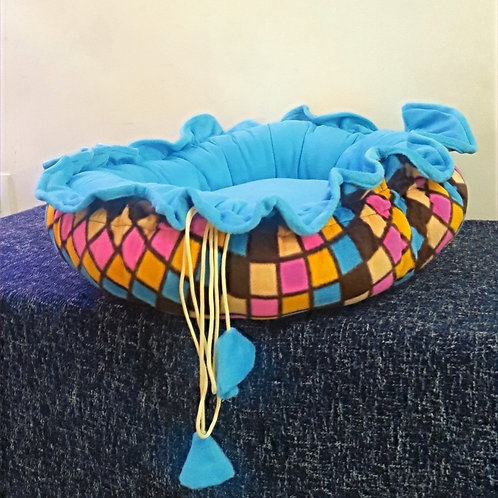 Blue and Multi-Color Checks Cuppy Cat and Small Dog Bed