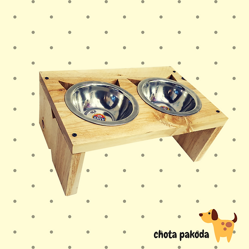 Raised Feeder Wooden for small dogs and cats two steel bowls included