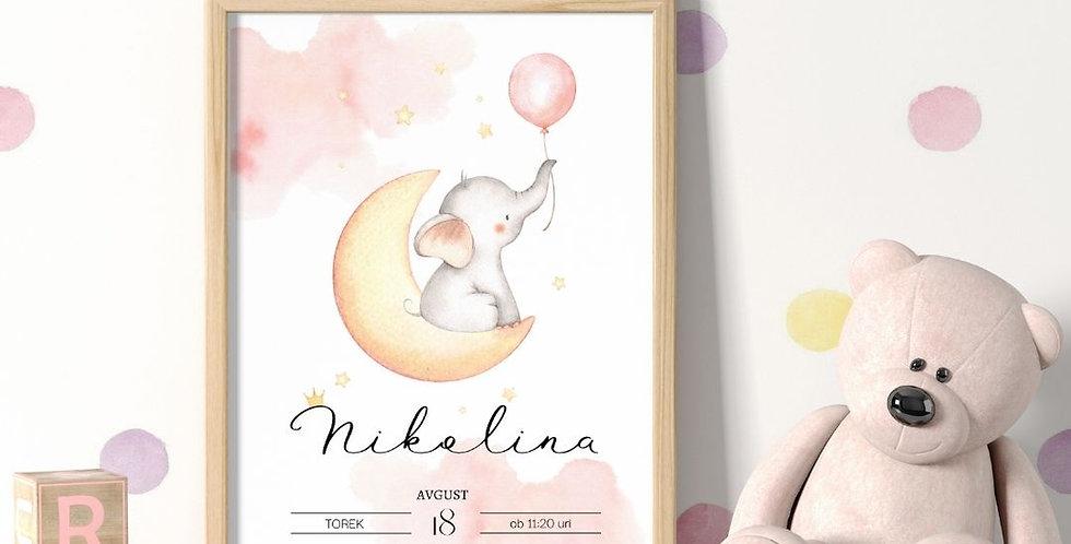 Slonček luna punčka print A4