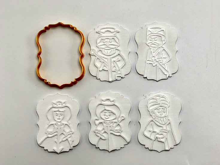 "Purim Cast 5 characters 6pc set - Cookie Cutters 3"" high"