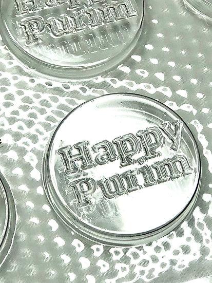 "Happy Purim Chocolate Mold 12 Cavity each 1-7/8"" - Hebrew/English"