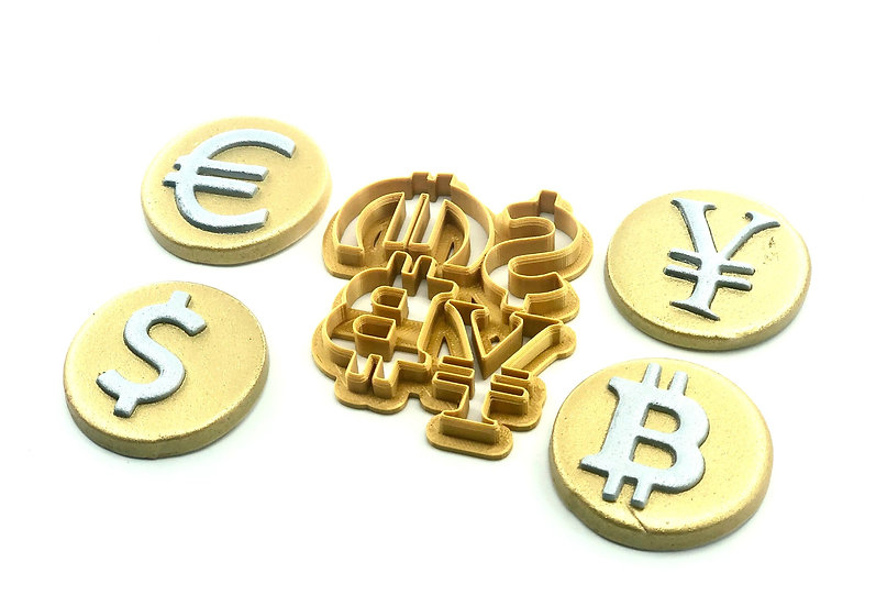 Dollar, Bitcoin, Euro, Yen Fondant Cutter 1.5in each for Cookies or Cakes