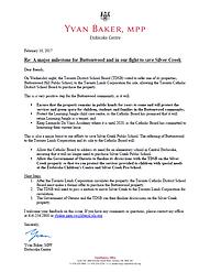 MPP Yvan Baker Letter