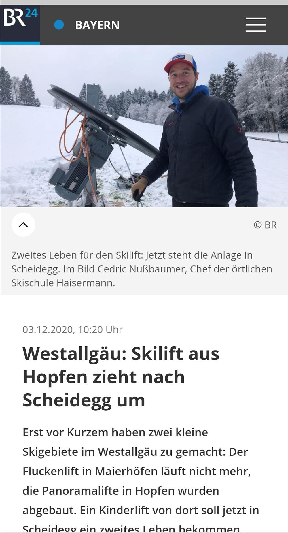 BR Fernsehen TV Beitrag Skilift Scheidegg