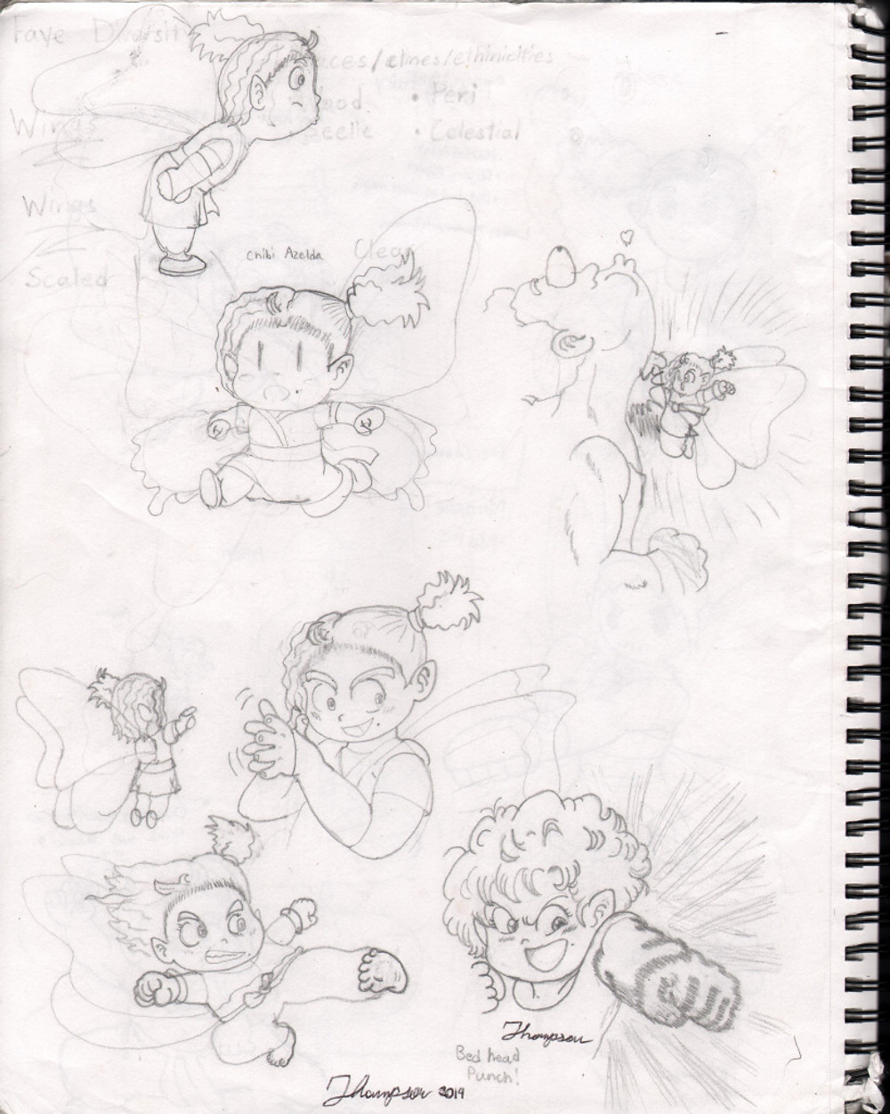 Early sketches of Azelda and her martial arts