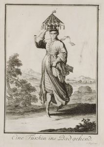 A Turkish Woman Going to the Baths, Christoph Weigel the Elder (1703)