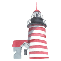 Graphic of a red and white striped lighthouse