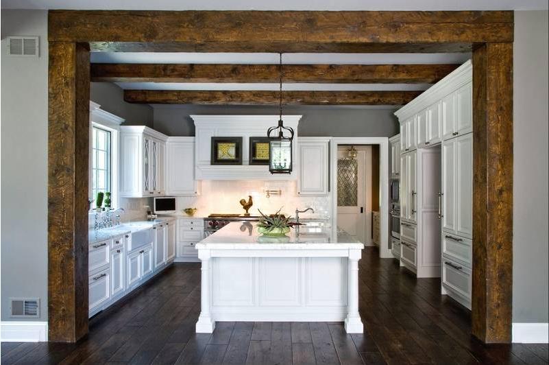 Reclaimed Hemlock Wood Beam kitchen