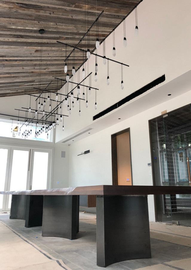 Weathered Gray and Brown Reclaimed Ceiling dining room.jpg