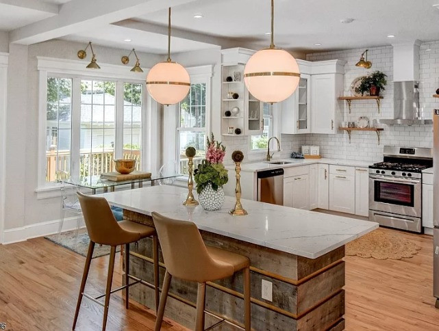 Marble top and reclaimed wood island