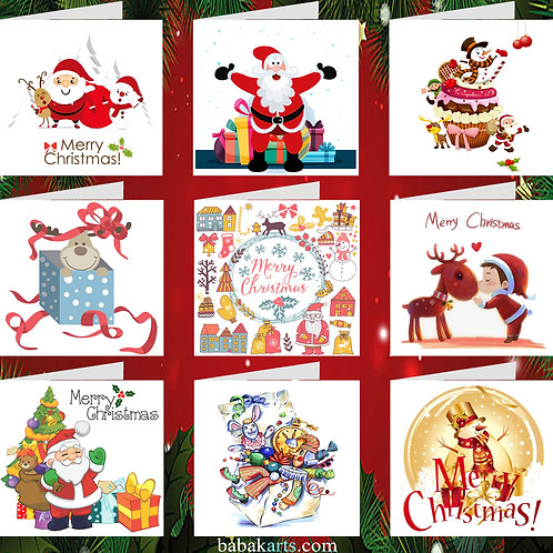 Christmas Greeting Card - Xmas Cards - Xmas Designs - Mixed Pack 9 in 1
