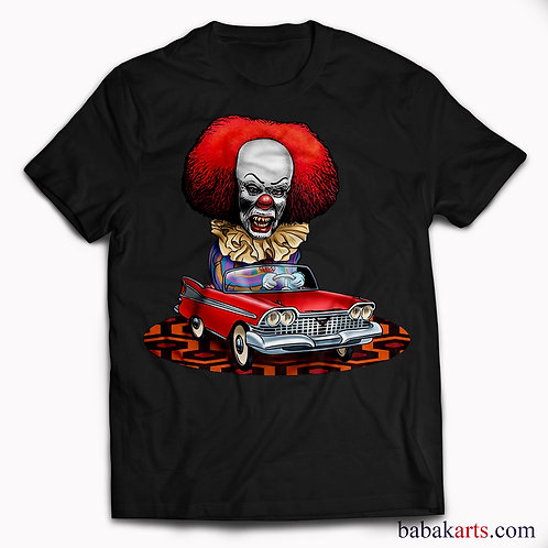 Halloween T-Shirt, Pennywise Scary Clown Driving Tee, IT Shirt