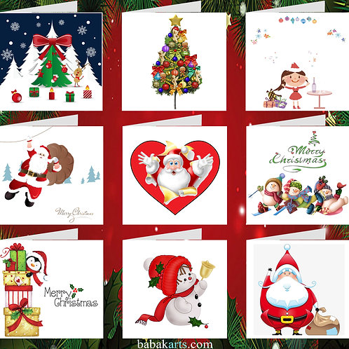 Merry Christmas Cards - Xmas Cards - Christmas Design - Mixed Pack 9 in 1
