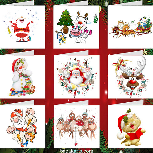 Merry Christmas Cards - Xmas Cards - Xmas Design - Mixed Pack 9 in 1