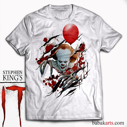 Halloween T-Shirt - Pennywise Scary Clown Tee and It's Red Ballon, IT Shirt