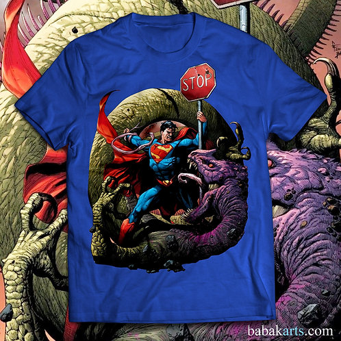 Superman vs Dragon T-Shirt, Superheroes Superman Tee Shirt