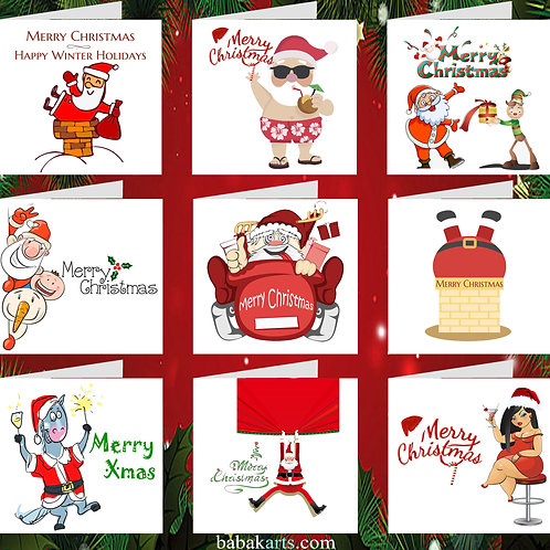 Christmas Funny Greeting Card - Xmas Cards - Xmas Design - Mixed Pack 9 in 1