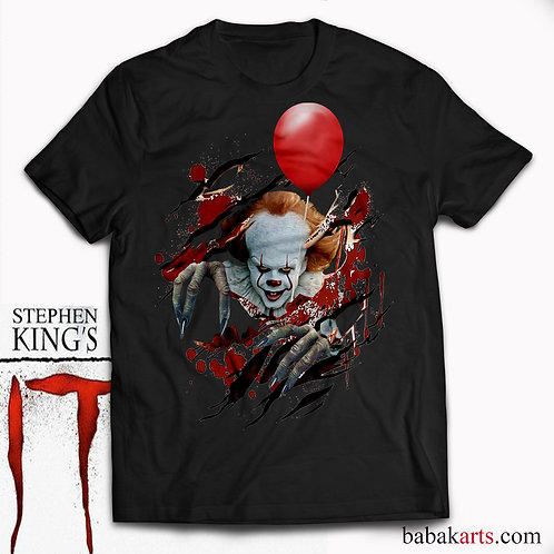 Pennywise Scary Clown Tee and It's Red Ballon, Halloween T-Shirt -  IT Sh