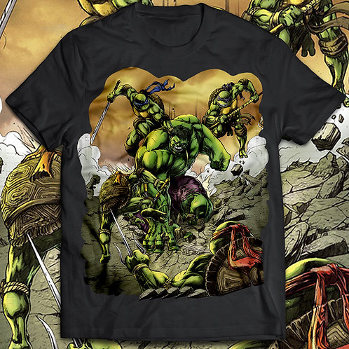 Hulk vs Ninja Turtles T-shirt, The incredible hulk t shirt/Comics t shir