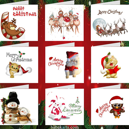 Merry Christmas Cards - Xmas Greeting Card - Xmas Designs - Mixed Pack 9 in 1
