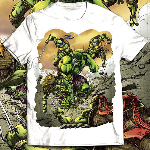 Hulk vs Ninja Turtles T-shirt, The incredible hulk t shirt/Comics t shirt