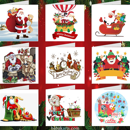 Merry Christmas Greeting Cards - Xmas Cards - Xmas Design - Mixed Pack 9 in 1