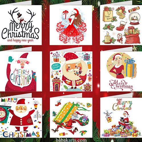 Christmas Greeting Card - Xmas Cards - Xmas Designs - Mixed Pack 9 in 1