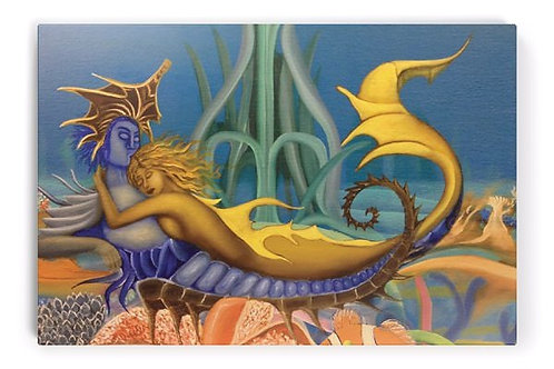 Mermaids in Love (Limited Edition on Canvas Art Print)